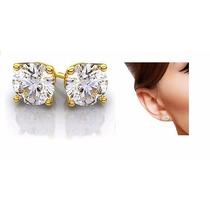 Hermosos Aretes Clásicos En Oro 10k Macizo Con Diamante Ruso