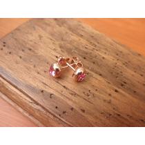 Aretes/broqueles Baño De Oro Rosa 18k Y Cristales Swarovski