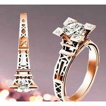 Anillo Compromiso Amor Torre Eiffel Oro 10k Diamante