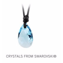 Collar Cuero + Dije Color Azul Original Swarovski Elements