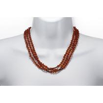 Collar Moda Costuras Y Cuentas Naranjas Biseladas Cc333