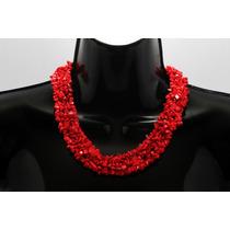Collar De Piedra Corto Coral Rojo Ccpn134