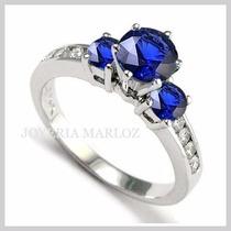 Anillos Comprmiso 14kt 1.07ctct Diamantes Naturales Y Zafiro