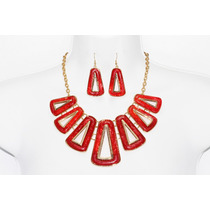 Collar Moda Triángulos Dorados Recubiertos De Rojo Y Aretes