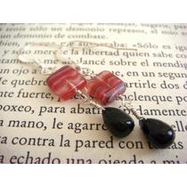 Aretes De Plata .925 Con Cristal Y Onix