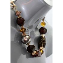Collar Moda Esferas, Eslabones Piedras Café/amarillo Aretes
