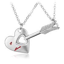 Collar Dije Corazón Y Flecha Regalo De Amor Novios Pareja