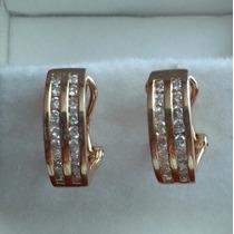 Aretes Oro Solido 14k Con 36 Diamantes