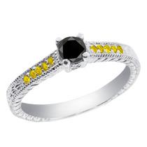 0.36 Ct Diamante Negro Anillo De Plata Esterlina