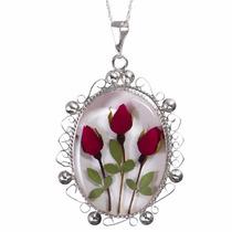 Collar Y Medallón Dije De Plata Con Flores Naturales