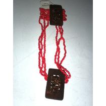 Collar Con Pulsera Tejido De Chaquira Y Madera Coral + Envio