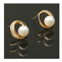 Pendiente Circular Con Perlas Y Diamantes De Imitación
