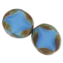 Cuenta Oval Cristal Checo, Corte Tabla, Azul Perla Picasso