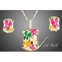 Chapa De Oro 18k Collar Y Aretes