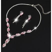 Collar Y Aretes Elaborado Cristal Swarovski Elements Rosa