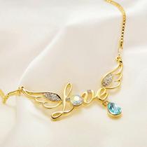 Collar Love De Oro Y Cristal Swarovski Original Y Certific.