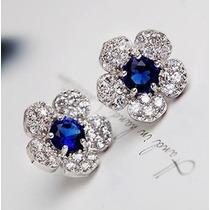 Aretes Azul Zafiro Y Circonias En Formad De Flor Ca006b