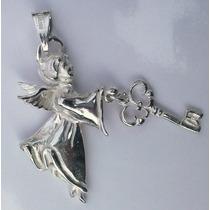 Dije De Angel Con Llave En Plata Fina Sterling Silver.925