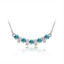 Aleación De Gargantilla Elegante Con Cristales (azul)