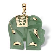 Jade 14k Bueno Fortuna Elefante Colgante En 14k Oro