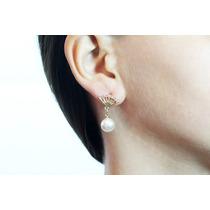 Arete Moda Dorado Abanico Y Perlas Ar246