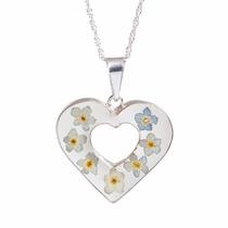 Collar Y Dije De Plata Corazón Con Flores Naturales