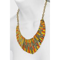 Collar Moda Media Luna, Grabados Naranja Y Amarillo