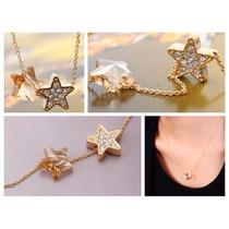 Estrellas Swarovski Elements Cristal Dorado Joyería Collar