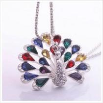 Collar Con Cristales De Pavo Real Colgante De C De Colores