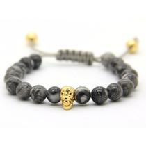 Pulsera Brazalete Hombre Diseño Italiano Buda Calavera Beads