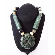 Collar De Jadeita Y Obsidiana Con Dije De Híkuri