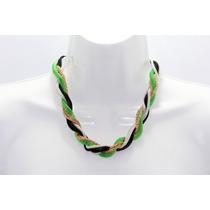 Collar Moda Malla Metálica Verde Y Dorado Entrelazadas
