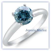 Anillo Compromiso Diamante Natural De Mina Color Azul