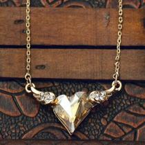 Collar De Corazón C Alas Cristal Swarovski Con Oro Lam. 18k