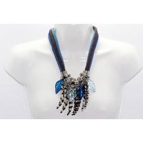 Collar Moda Hojas Doradas, Azules Y Cristales