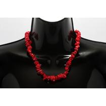 Collar De Piedra Corto Coral Rojo Ccpn103