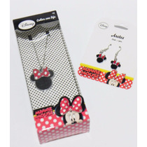 Mca.disney Juego De Aretes Y Collar Minnie Mouse Original.