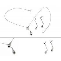 Set De Joyeria 3 Piezas Collar Y Aretes Diseño Gotas