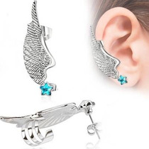 Arete Tipo Ear Cuff De Acero Inox Ala Plateada Con Estrella