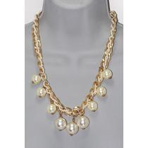 Collar Moda Dorado Cadena Y Colgantes De Perlas