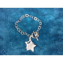 Pulsera Estrellas Laminado Con Rodio 14k