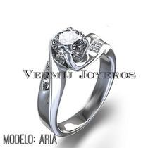 Anillo Compromiso Plata Argentium .935 Y Baño De Oro 24k