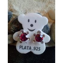 Aretes De Plata Fina Ley.925 Con Cristal Taxco, Omm