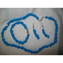 Gcg Cuarzo Azul Turqueza Juego: Collar Pulsera Y Aretes Bbf