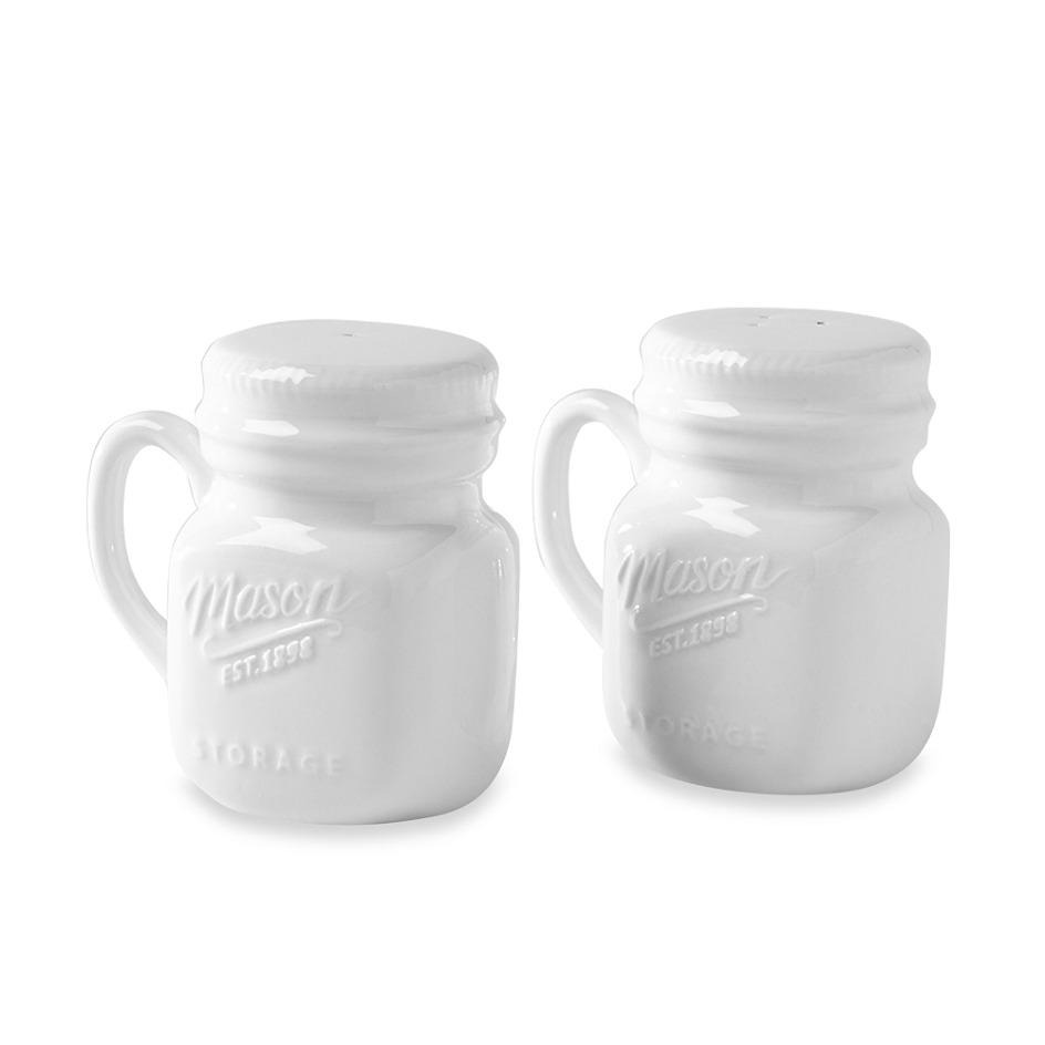 juego de salero y pimentero mason jars de porcelana