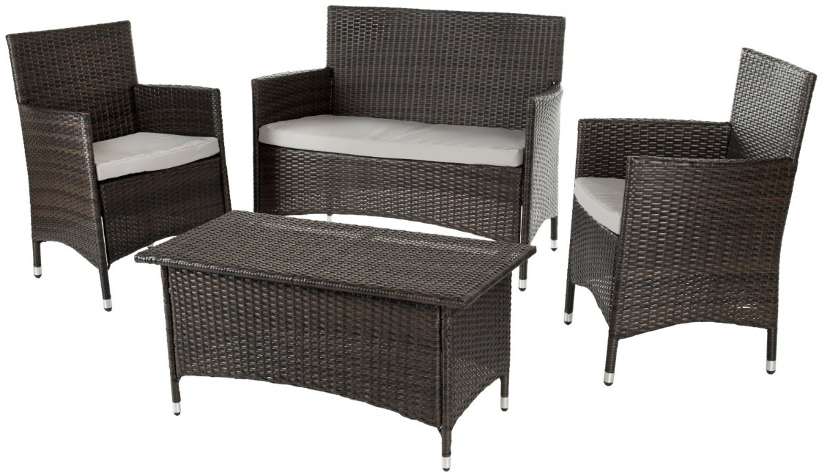 Juego de sillones con mesa central para jardin exterior for Almohadones para sillones de jardin