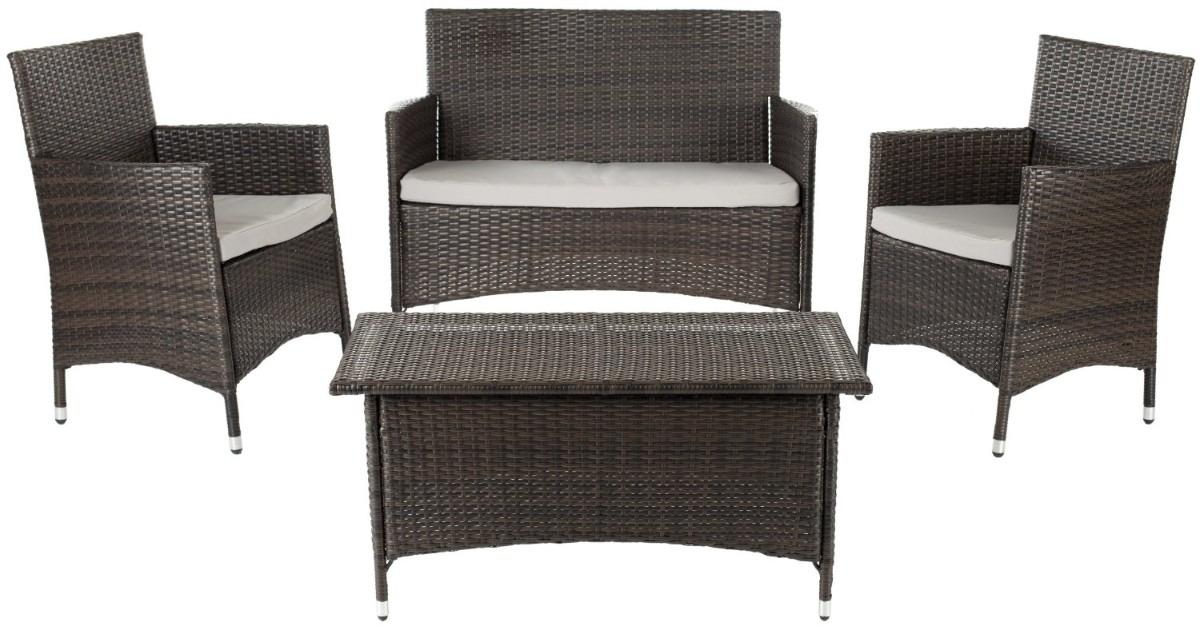 Juego de sillones con mesa central para jardin exterior for Sillones de aluminio para terraza