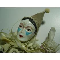 Preciosa Muñeca De Porcelana Payaso Arlequin