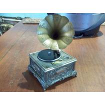 Antigua Caja Musical Encendedor Gramofono Japonesa