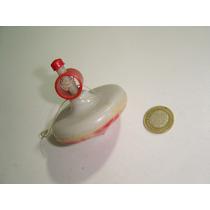 Antiguo Trompo De Plástico Duro Color Rojo Con Blanco